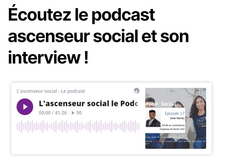 L'association l'ascenseur social publie son 17ᵉ podcast